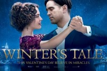 Colin Farrell e Jessica Brown Findlay no BANNER promocional da fantasia UM CONTO DO DESTINO