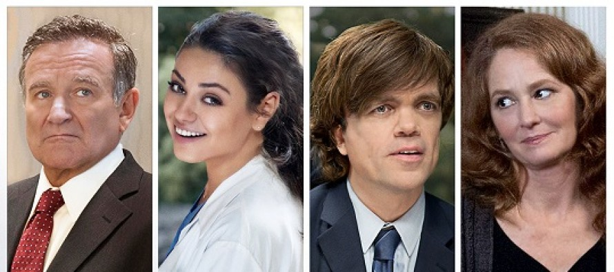 Mila Kunis, Peter Dinklage, Robin Williams e Melissa Leo no PÔSTER de THE ANGRIEST MAN IN BROOKLYN