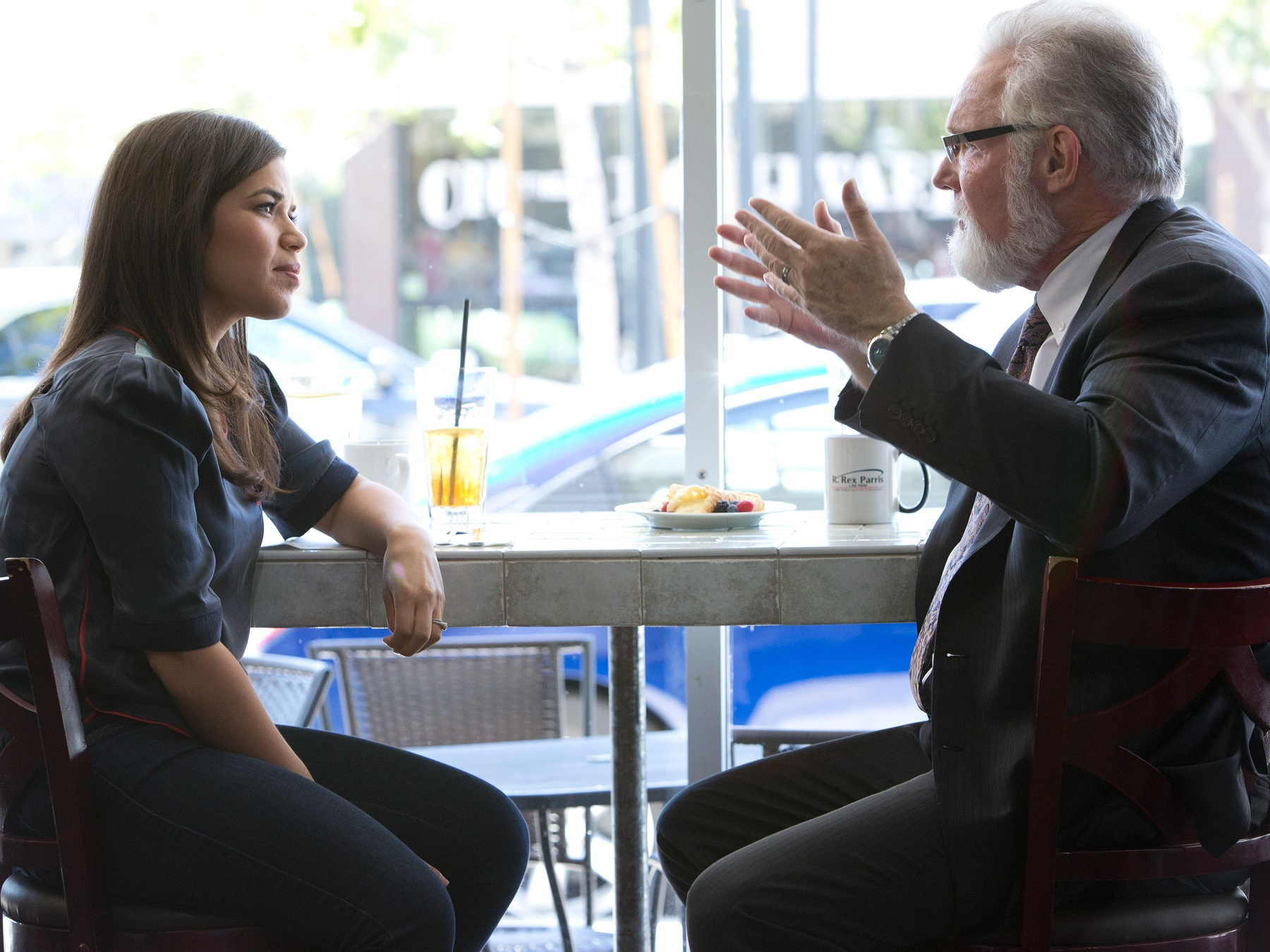 "America Ferrera talks to Mayor Rick Parris at a restaurant in Lancaster, CA, from the segment ""Against The Wind."" (Photo Credit: The Years Project/Courtesy of SHOWTIME)"