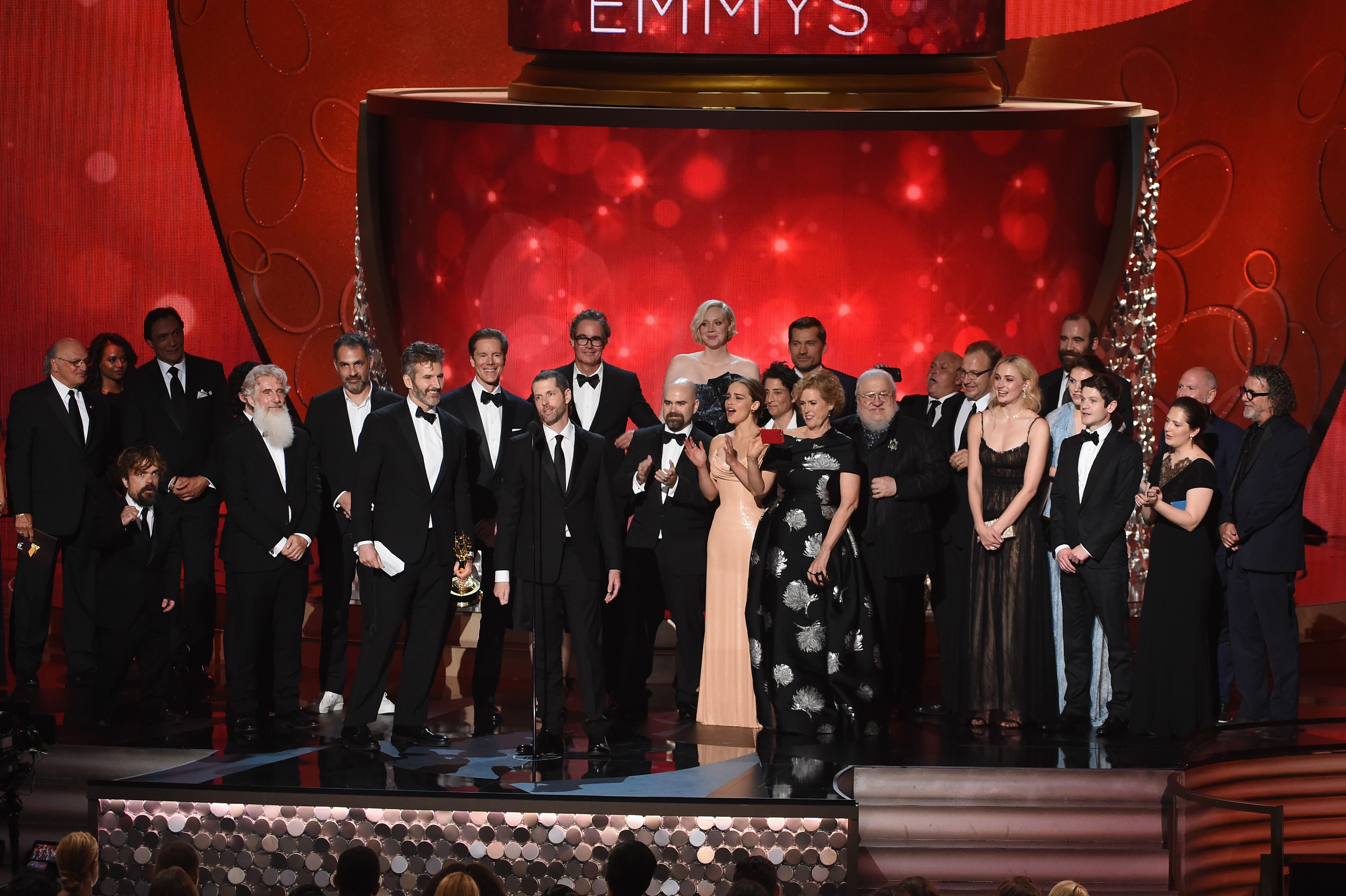 LOS ANGELES, CA - SEPTEMBER 18: Writer/producers David Benioff and D.B. Weiss (both center-left, at microphone) with production crew accept Outstanding Drama Series for 'Game of Thrones' onstage during the 68th Annual Primetime Emmy Awards at Microsoft Theater on September 18, 2016 in Los Angeles, California. (Photo by Kevin Winter/Getty Images)
