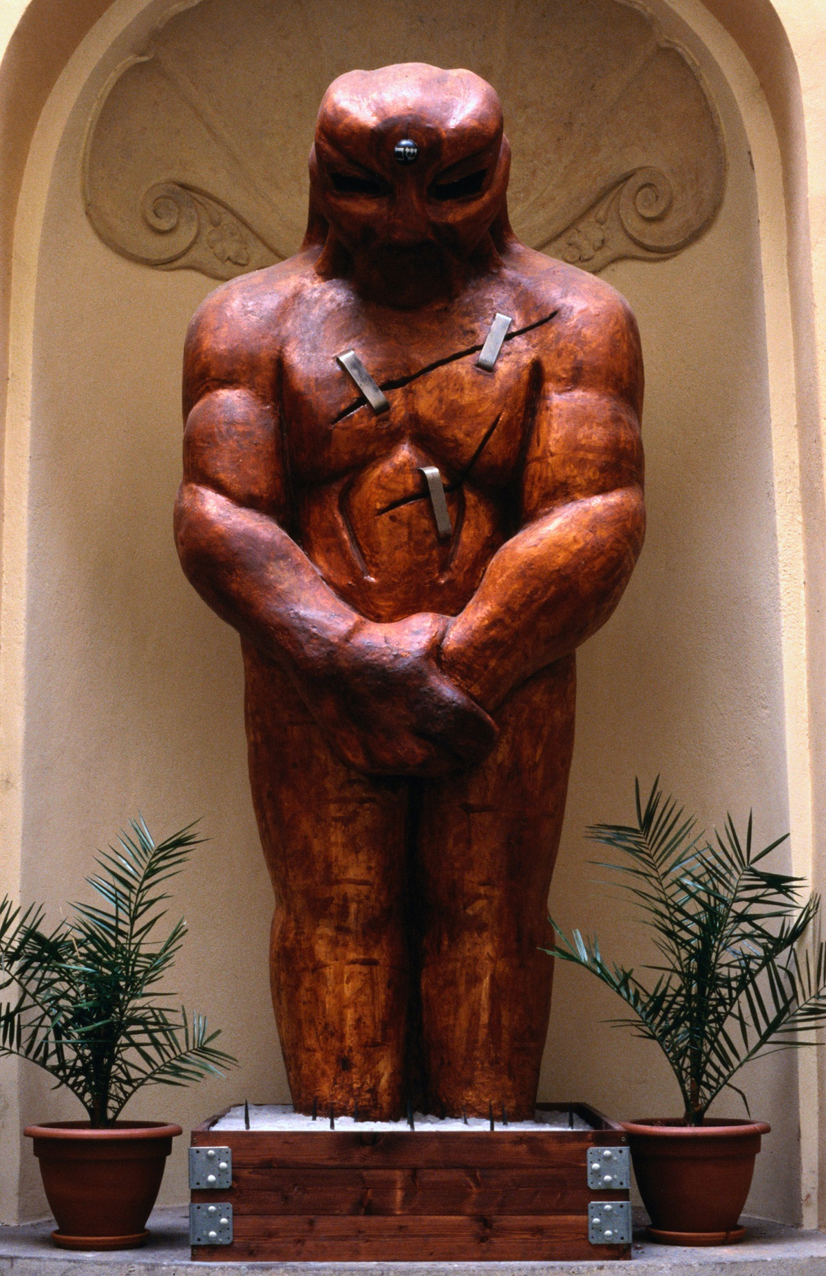 A wooden Golem in Karlova. The creation of a golem, a man crafted out of clay, was created by Rabbi Yehudah Loevy ben Bezalel (the Maharal) of Prague to protect 16th century Jews from persecution.